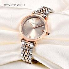 KOVONSH 여성 시계 시계 숙녀 시계 여성의 여성 시계 스테인레스 스틸 드레스 손목 시계 실버 골드 선물 Dropshipping