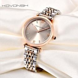 KOVONSH Luxury Fashion Women Watches Lady Watch Stainless Steel Dress Women Watch Quartz Wrist Watches Gift Present Dropshipping