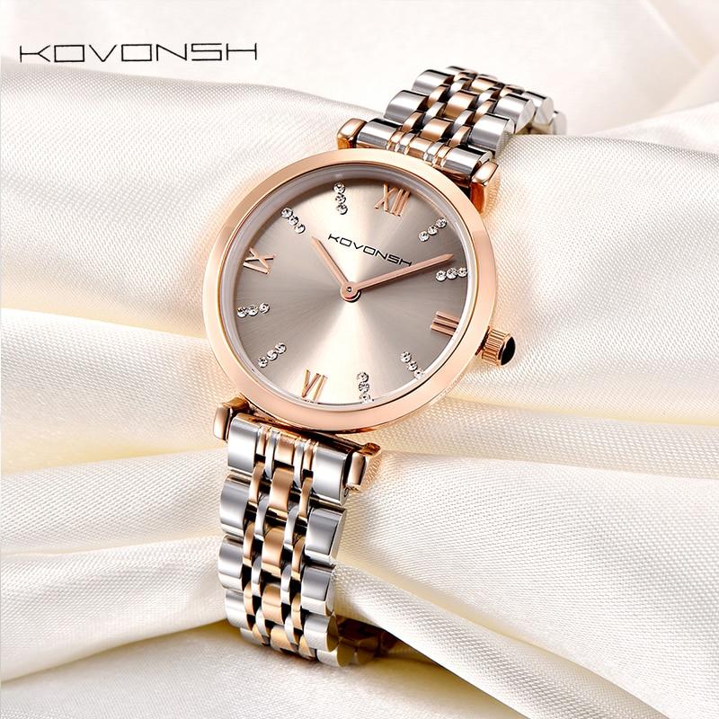 KOVONSH Luxus Mode Frauen Uhren Dame Uhr Edelstahl Kleid Frauen Uhr Quarz Handgelenk Uhren Geschenk Präsentieren Dropshipping