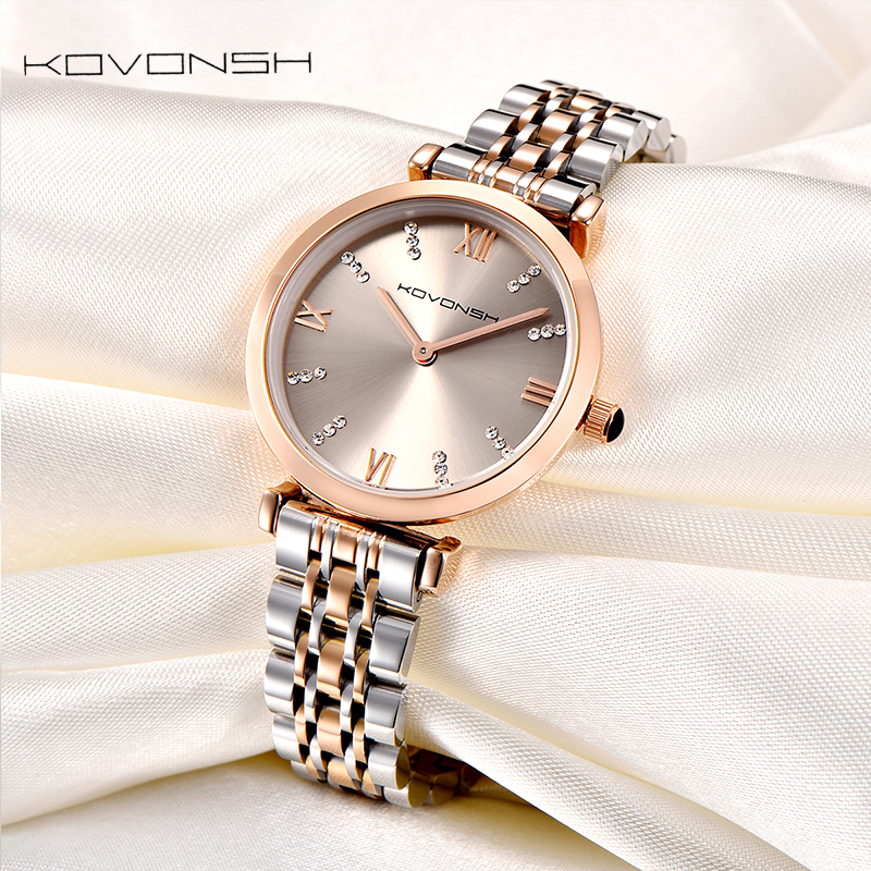 fffd5671b KOVONSH الفاخرة أزياء المرأة الساعات سيدة ووتش الفولاذ المقاوم للصدأ اللباس  النساء ووتش ساعات يد كوارتز
