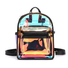 Holographic Transparent Backpack Women PVC Hologram Mini Clear Shoulder Bag Daily Female Travel Bagpacks