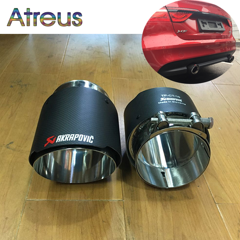 Atreus 2pcs Carbon Fiber Akrapovic Tips Car Exhaust Pipe Muffler Tips Cover For Jaguar XF XE F-PACE Accessories 2.0T 3.0T TSI exhaust tips on jaguar xe