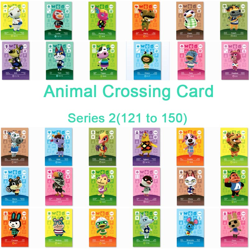 <font><b>Animal</b></font> <font><b>Crossing</b></font> <font><b>Card</b></font> <font><b>Amiibo</b></font> <font><b>Card</b></font> Work for NS Games Series 2 (121 to 150) image