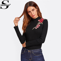Sheinside Embroidered Patch Ribbed Knit Basic Tee Women Black High Neck Long Sleeve Casual T-shirt 2017 Fall Elegant Shirt