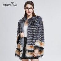 ZIRUNKING Lady Real Fox Fur Coat Women Natural Fur Jacket Fashion Fox Fur Clothes Overcoat Female Fur Outerwear ZC1830
