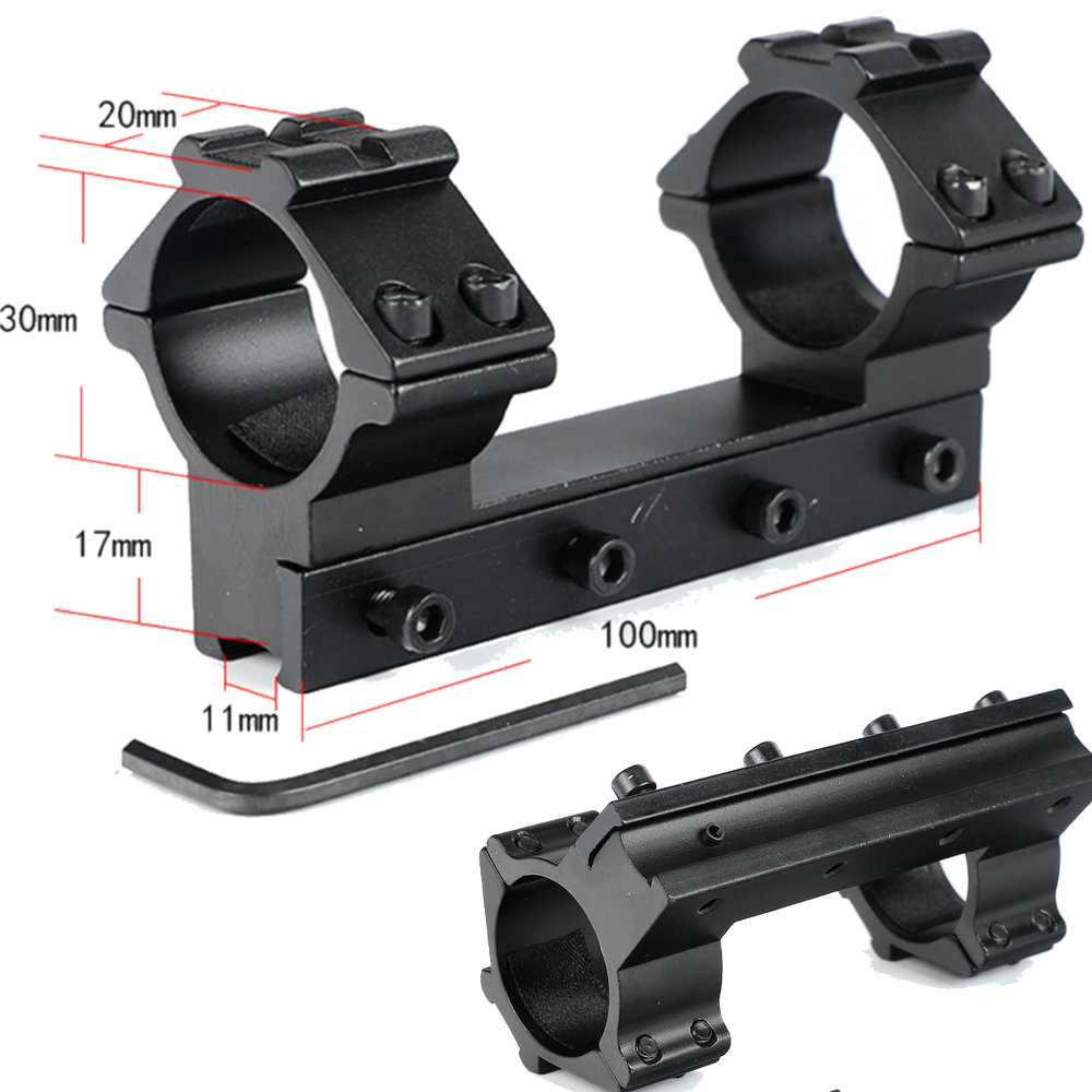 10cm High Profile 11mm Dovetail .22 Airgun 30mm Dovetail Rings with Stop Pin 20mm Rail For Hunting Tactical Rifle Scope Mount image