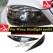 цена на For Mercedes BENZ W204 Carbon Fiber Front Headlight Eyelids Eyebrows cover W204 C-class C180 C200 C260 C300 C63 C45AMG 2007-2014