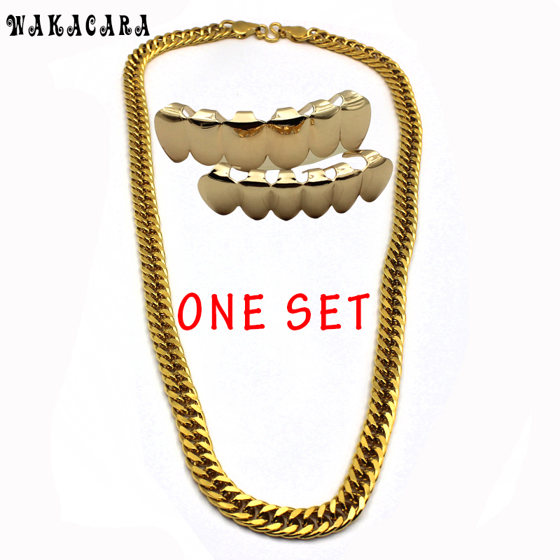 WAKACARA New Trendy Gold Color Chain Hip Hop Teeth
