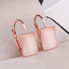 MOONROCY Free Shipping Rose Gold Color Crystal Opal square Earrings Jewelry Wholesale Fashion Gift new for women Gift