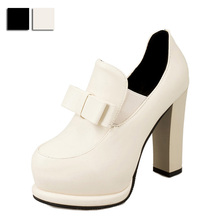 Spring Autumn Women High Heel Shoes Solid Color Thick Heel Round Toe Platform Bowtie Pu Leather Female Casual Pumps