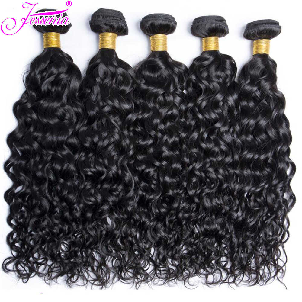 Малазийские пучки волос с закрытием 4 пучки воды волна с закрытием кружева 100% Remy натуральные волосы плетение с 4*4 закрытия 5 шт./лот