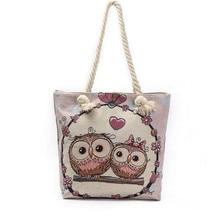 M494 2017 New Cute Women Bag Individual Character High-capacity Big Eye Owl Jacquard Canvas Bag Shoulder Bag Big Size