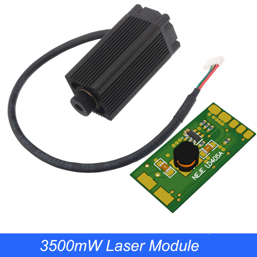 3.5W 405nm Blue Violet Laser Module , Laser Engraving Machine Parts , Laser Cutting TTL Module 3500mw Laser Tube For NEJE MASTER