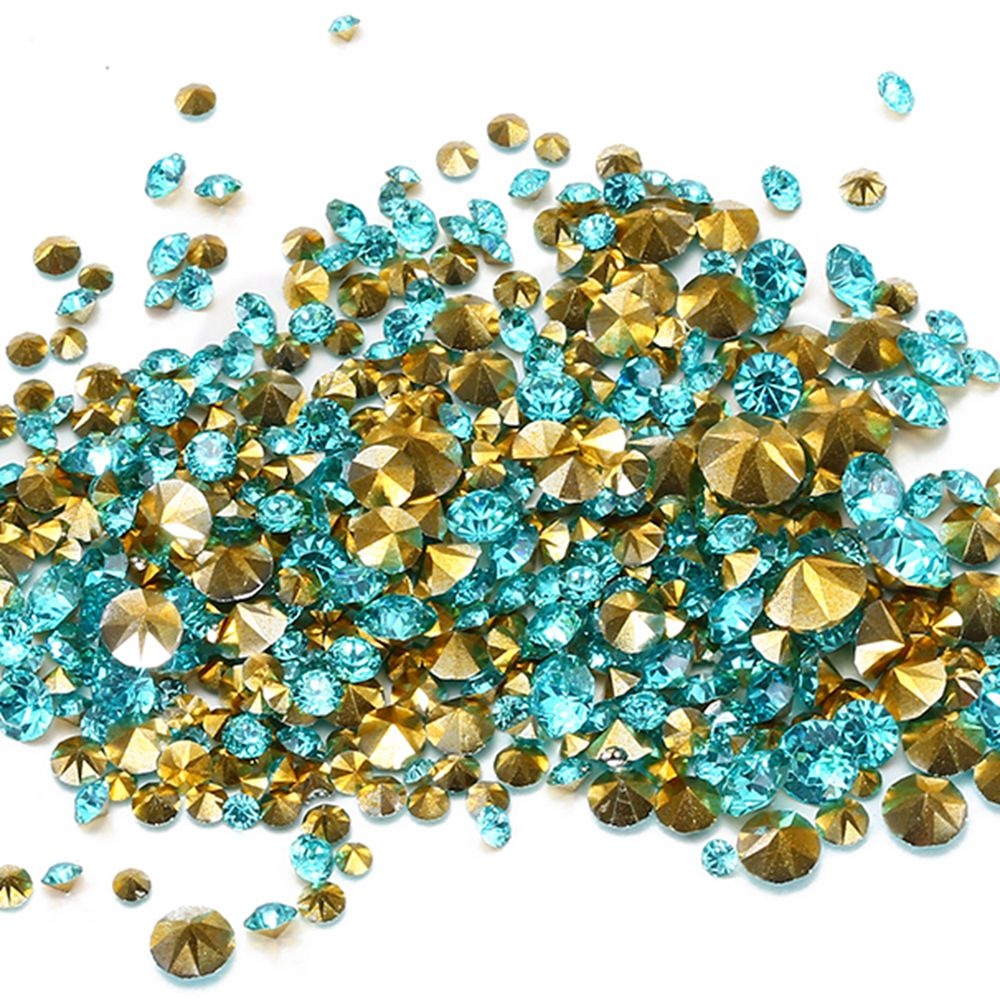 Wholesale Aquamarine Color Resin Rhinestones PointBack Glue On Beads Many Sizes Diamond Nail Art Wedding Dress Decoration DIY