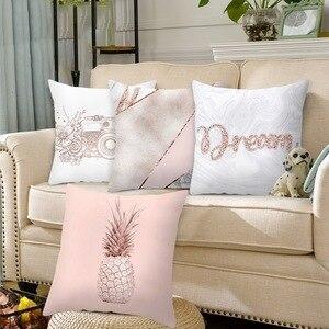 Image 2 - 홈 decortion 로즈 골드 베개 케이스 기하학 dreamlike 베개 폴리 에스터 던져 베개 커버