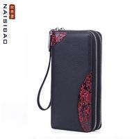 Leather long wallet Ladies' first layer cowhide embossed zip wallet Multifunction wallet women clutch bag