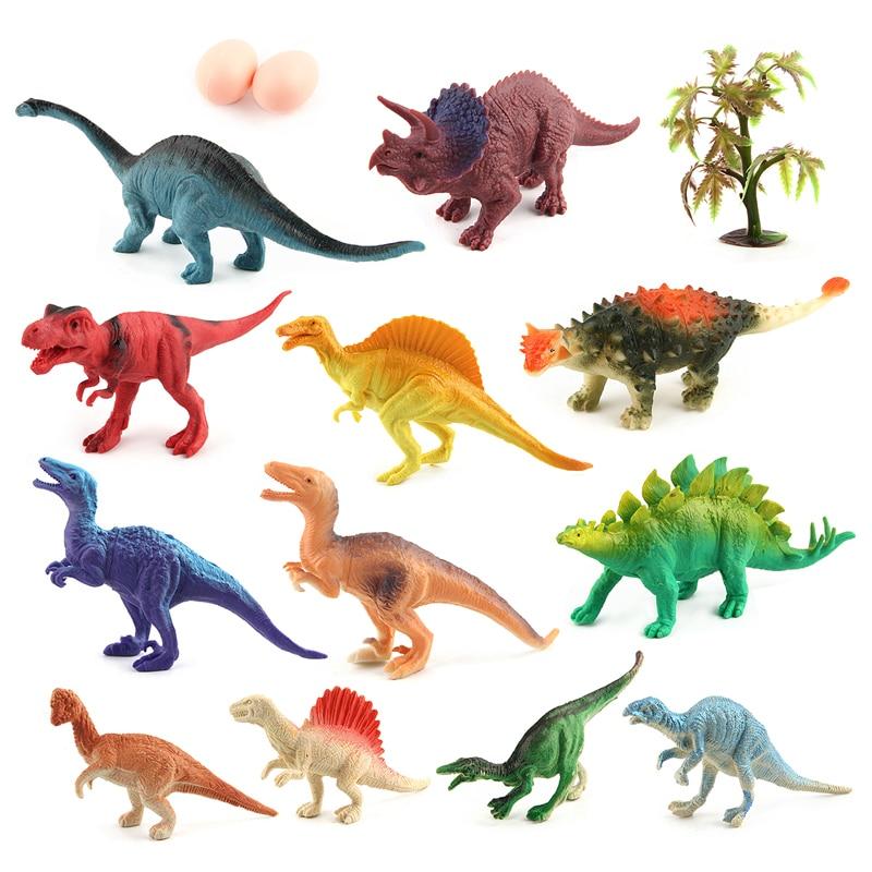 12pcs/set Jurassic World Dinosaurs Set Simulation Animal Model Solid Soft Dinosaur Action Figures Education Toys #E