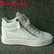 Men's Sneakers Flats High-Top White Casual New Lace-Up Zipper Bling Chaussures Sequin