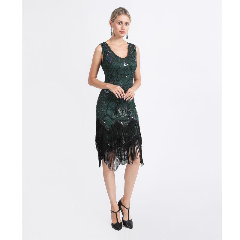 US $24.99  Women 1920s Flapper Dress Gatsby Vintage Plus Size Roaring 20s  Costume Dresses Fringed for Party Prom-in Dresses from Women\'s Clothing on  ...