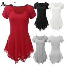 Plus size 4xl 5xl Solid Lace lace 2019 Women Summer Red Tops Short Sleeve V-Neck Female T-Shirt Casual Loose Ladies Tee Shirt
