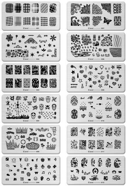 12 Unids/lote 12*6 CM Placa de Acero Inoxidable de Manicura de Uñas Konad Imagen del Sello Polaco Impresora Plantillas de Herramientas Del Arte Del Clavo Placas de estampación
