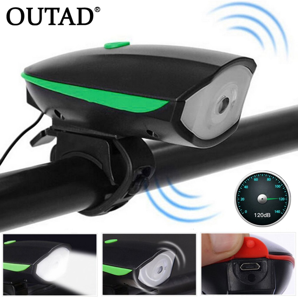 OUTAD Super Bright Bicycle Bike Horn Light Headlight Waterproof Nigh Safety Electric Riding Cycling Horn Bell Bike Accessories