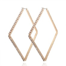 Luxury Exaggerated Earrings Big Rhinestone Earrings for Women Gold Big Square Earrings Fashion Jewelry Party Gift large ear hoop