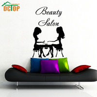 DCTOP Beauty Salon Nail Care Two Women Manicure Silhouette Art Wall Sticker Vinyl Removable Home Decor