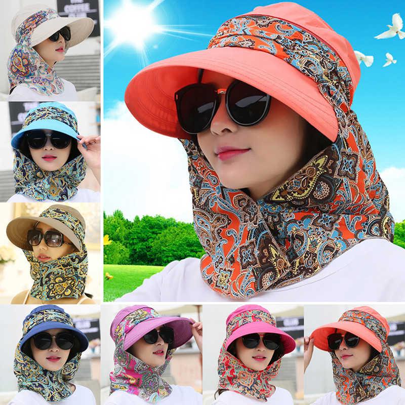 Mode femmes été en plein air équitation Anti-UV chapeau de soleil plage pliable crème solaire impression florale casquettes cou visage large bord chapeau