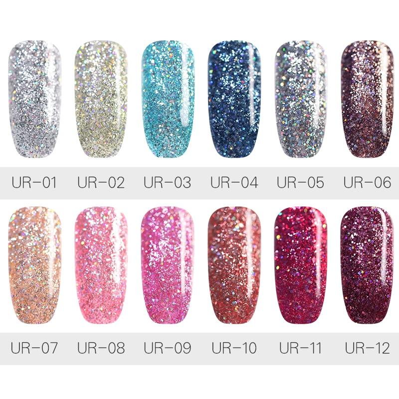 UR SUGAR 7.5ml Holographic Gel Nail Polish Silver Rose Gold Colors Shining Glitter Soak Off UV Gel Nail Art Gel Varnish Manicure