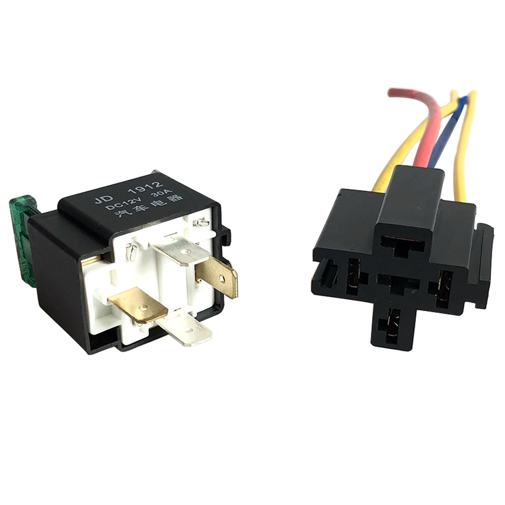 40Amp 4 Pin Normally Closed Relay Prewired Base Socket Automotive Car Bike