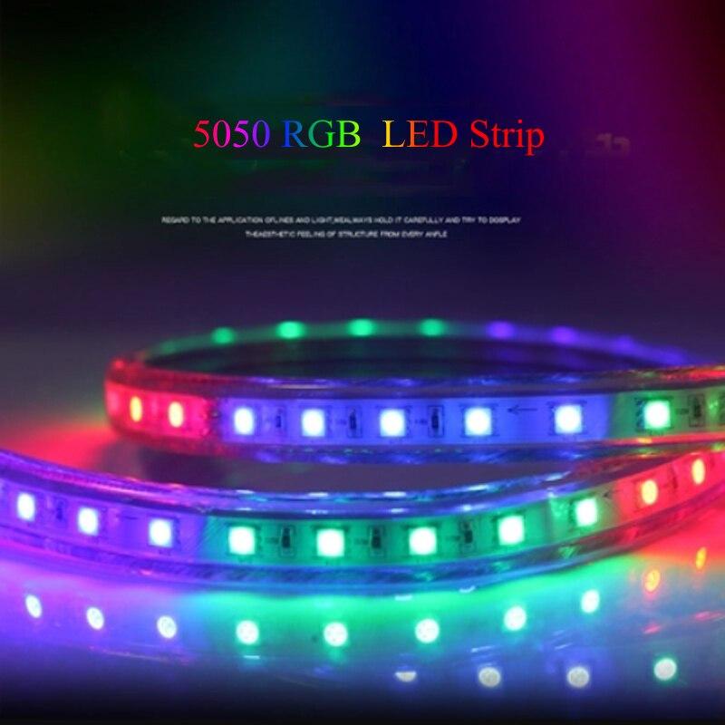 220V RGB LED Strip Light SMD 5050 IP67 Waterproof 1M/2M/3M/4M/5M/6M/7M/8M/9M/10M/15M/20M 60LEDs/M with EU Power Plug