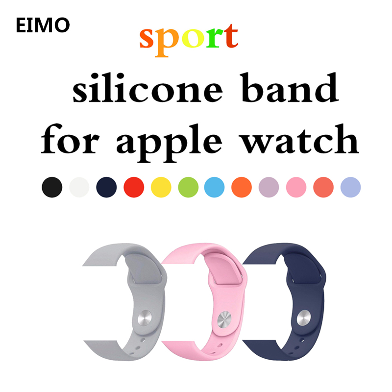 Sport Silicone strap band For Apple Watch bands 3 42mm 38mm Rubber bracelet watchband black white strap for Iwatch series 3/2/1 sport silicone band strap for apple watch nike 42mm 38mm bracelet wrist band watch watchband for iwatch apple strap series 3 2 1
