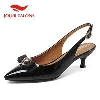 efaf7172b JOUIR TALONS Brand Design Genuine Leather Buckle Strap Thin Med Heels Solid  Metal Decoration Shoes Woman