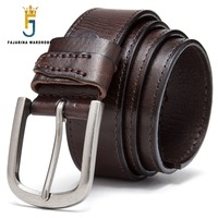 FAJARINA Top Quality All Match Design 100 Pure Genuine Leather Belts Handmake Sewing Cowhide Pin Buckle