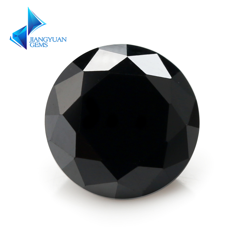 3.5~16mm 5A black Brilliant cubic zirconia stone Machine Cut Round loose CZ stone