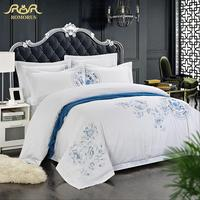 ROMORUS Brief Cotton Satin Fabric Luxury 5 star Hotel Bedding Set for Single/Double Bed Sheets Quilt Covers Pillowcases Bed Sets