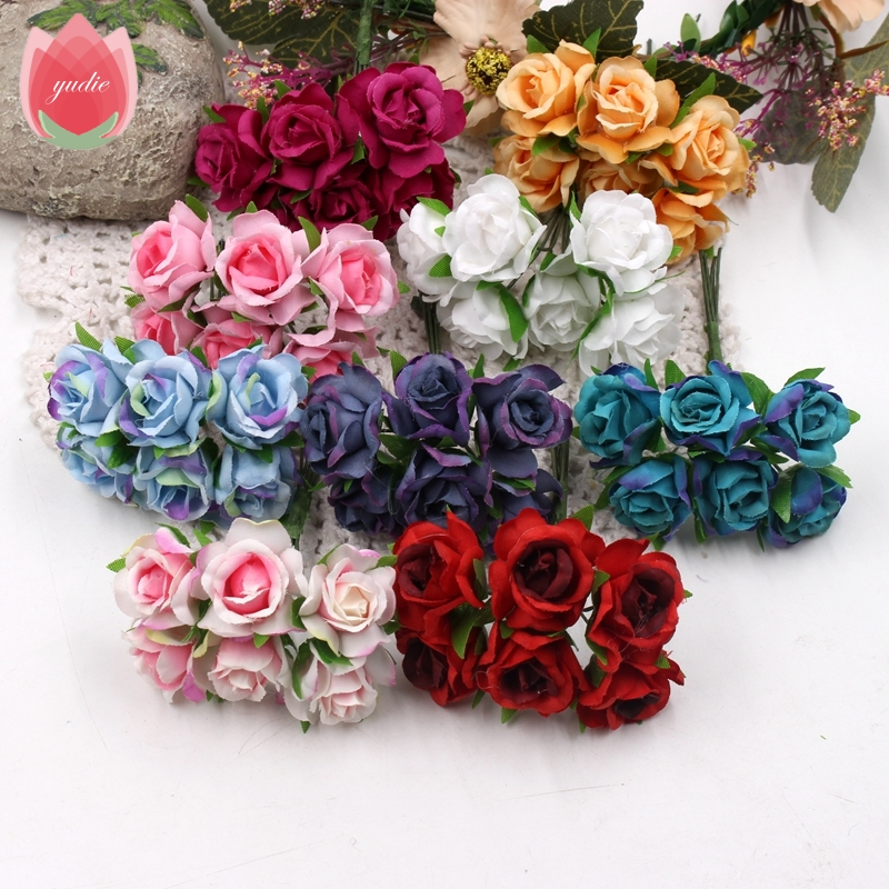 6pcs 3cm Silk Handmade Rose Artificial Flowers For Wedding Party Home Box Decoration DIY Marriage Rosa Corsage Garland Supplies