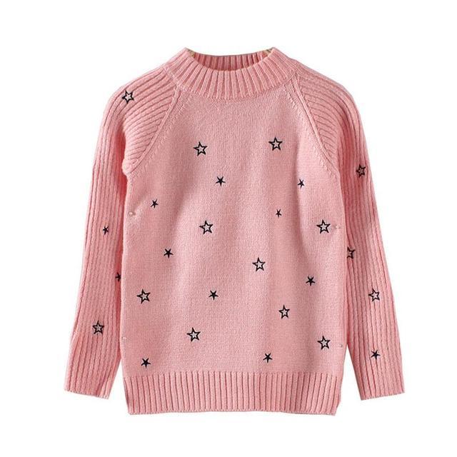 Los niños de invierno nuevo otoño niñas suéter estrella de cinco puntas de cuello bordado de punto suéter de las muchachas