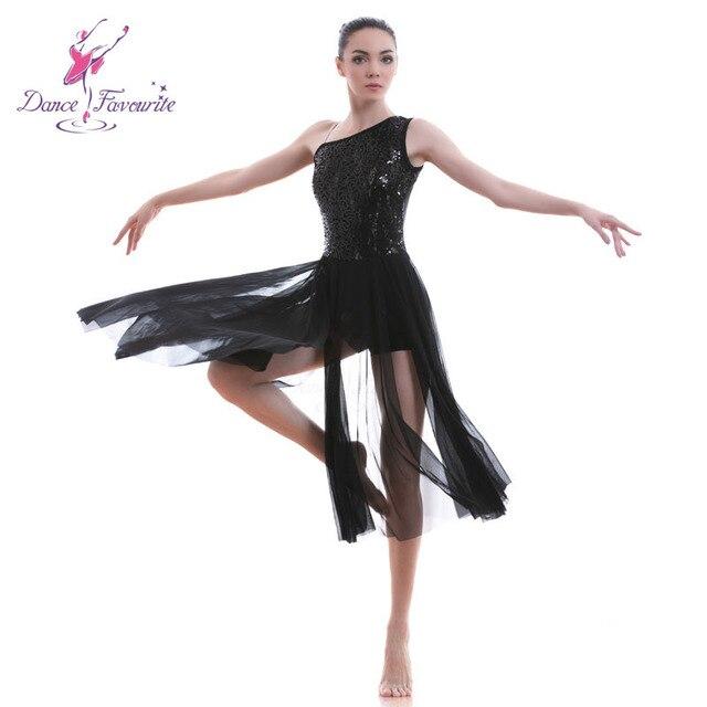 e87239eb948f Dance Favourite Black Sequin Lace Women Lyrical Dance Costume Ballet ...