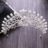 CC Tiaras And Crowns Romantic Swan Shape Crystal Pearl Hollow Design Wedding Hair Accessories For Bride