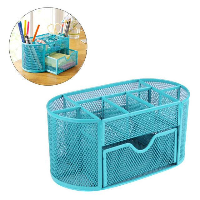 Blue Mesh Desk Organizer Desktop Pencil Holder Accessories Office Supplies  Caddy With Drawer, 9 Compartments