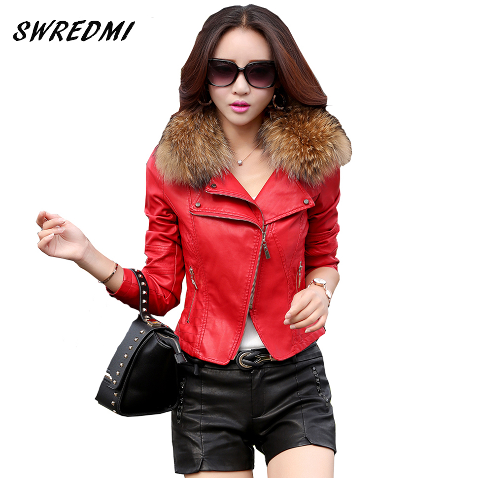 Leather jacket women 2017 spring real fur collar leather for Red leather shirt for womens