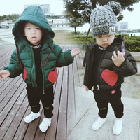 Girl Winter Clothes Children Clothing Down Parkas for Baby Boy Velvet Thicker Coats Jackets for Girls Heart Lovet Print Clothing