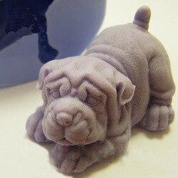 Moldes de sabão de silicone molde de um filhote de cachorro do cão moldes de silicone animais molde artesanal sabão fazendo aroma pedra shar pei 3d