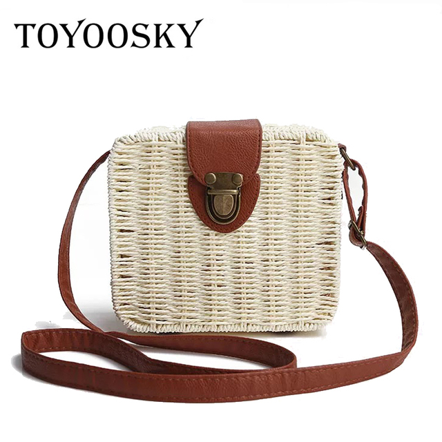 Toyoosky Women Bag Candy Color Square Straw Small Single Shoulder Bags Crossbody Handbag