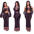 IMYSEN sexy strap print Jumpsuit two piece set womens cris-cross bandage hollow out exotic women set O-neck crop top long pants