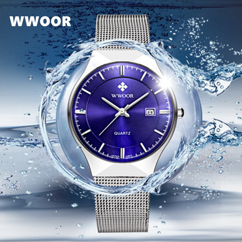 relogio masculino WWOOR 50m Waterproof Watches Men Top Luxury Brand Quartz Watch Ultra Thin Steel Date erkek saat male clock wwoor waterproof ultra thin date clock male stainess steel strap casual quartz watch men wrist sport watch 3 colors