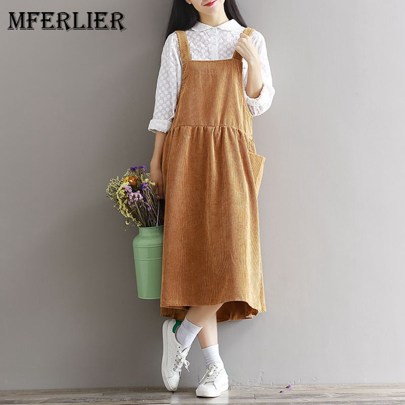 Mferlier Mori Girl Autumn Winter Corduroy Vintage Dress Solid Spaghetti Strap High Waist Pleated Pocket Vestidos Mujer