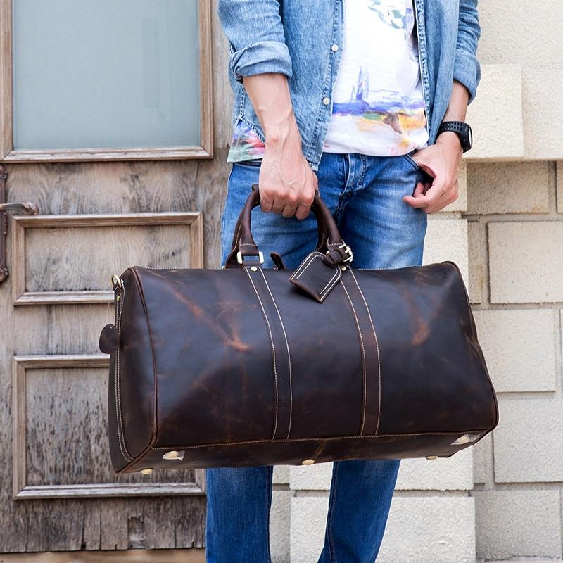 MAHEU Men Genuine Leather Travel Bag Travel Tote Big Weekend Bag Man Cowskin Duffle Bag Hand Luggage Male Handbags Large 60cm leather travel bag weekend bagtravel bag - AliExpress